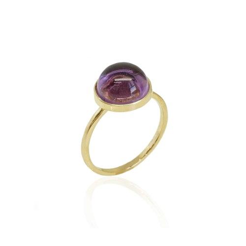 טבעת זהב עם אבן אמטיטסט סגולה