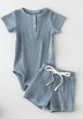 סט בנים בגד גוף ומכנס כחול