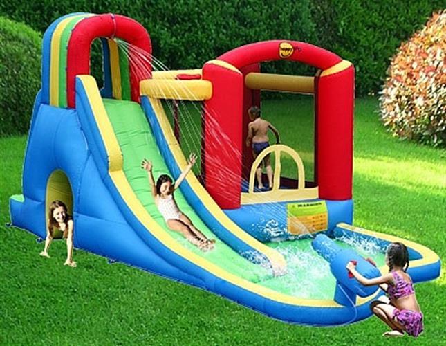 מתקן מים מתנפח הכולל תותח מים הפי הופ - 9047- Splash Wave Fun Zone HappyHop