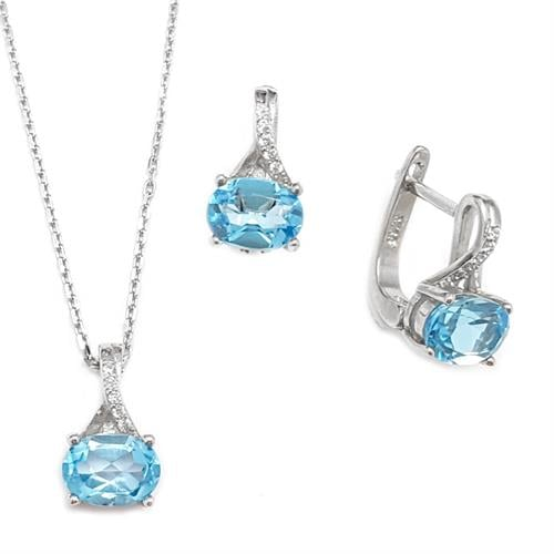 עגילים ותליון מכסף משובצים אבני טופז כחולות וזרקונים S1569