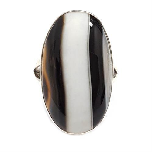טבעת כסף משובצת אבן אגט  RG5929 | תכשיטי כסף 925 | טבעות כסף