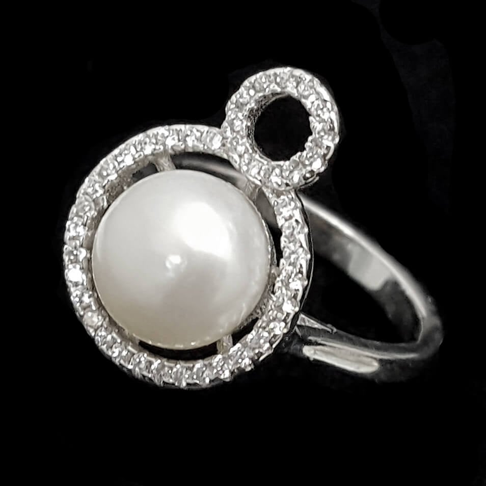 טבעת מכסף משובצת פנינה לבנה וזרקונים RG1487 | תכשיטי כסף 925 | טבעות כסף
