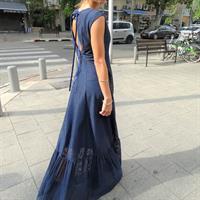 שמלת דנה רשת משובצת כחול נייבי
