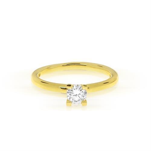 טבעת סוליטר זהב 14 קרט משובצת יהלומים 0.35 קראט