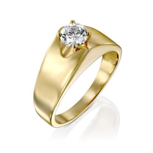 טבעת ללה זהב 14 קראט יהלום לבן