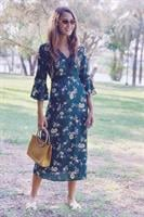 שמלת מידי מלאני פרחונית שסע