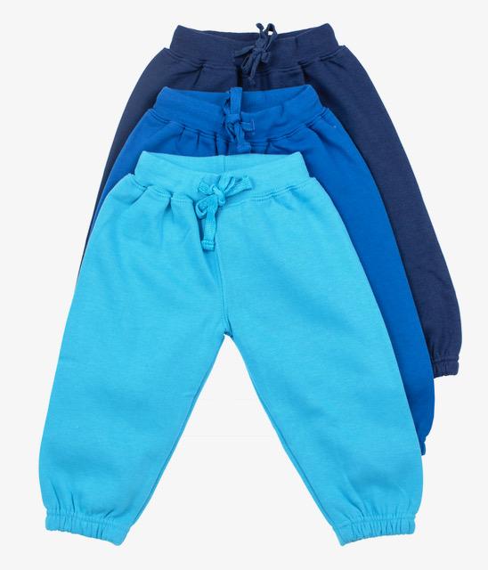 שלישיית מכנסי פוטר גומי כחול כהה-כחול-תכלת