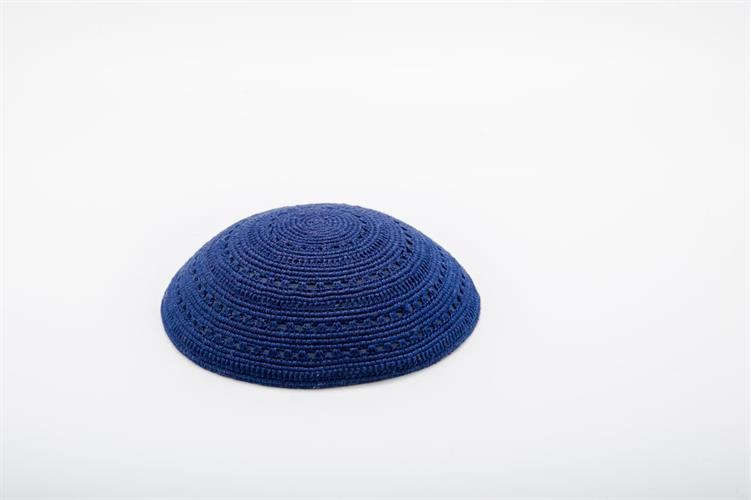כיפה סרוגה בצבע כחול