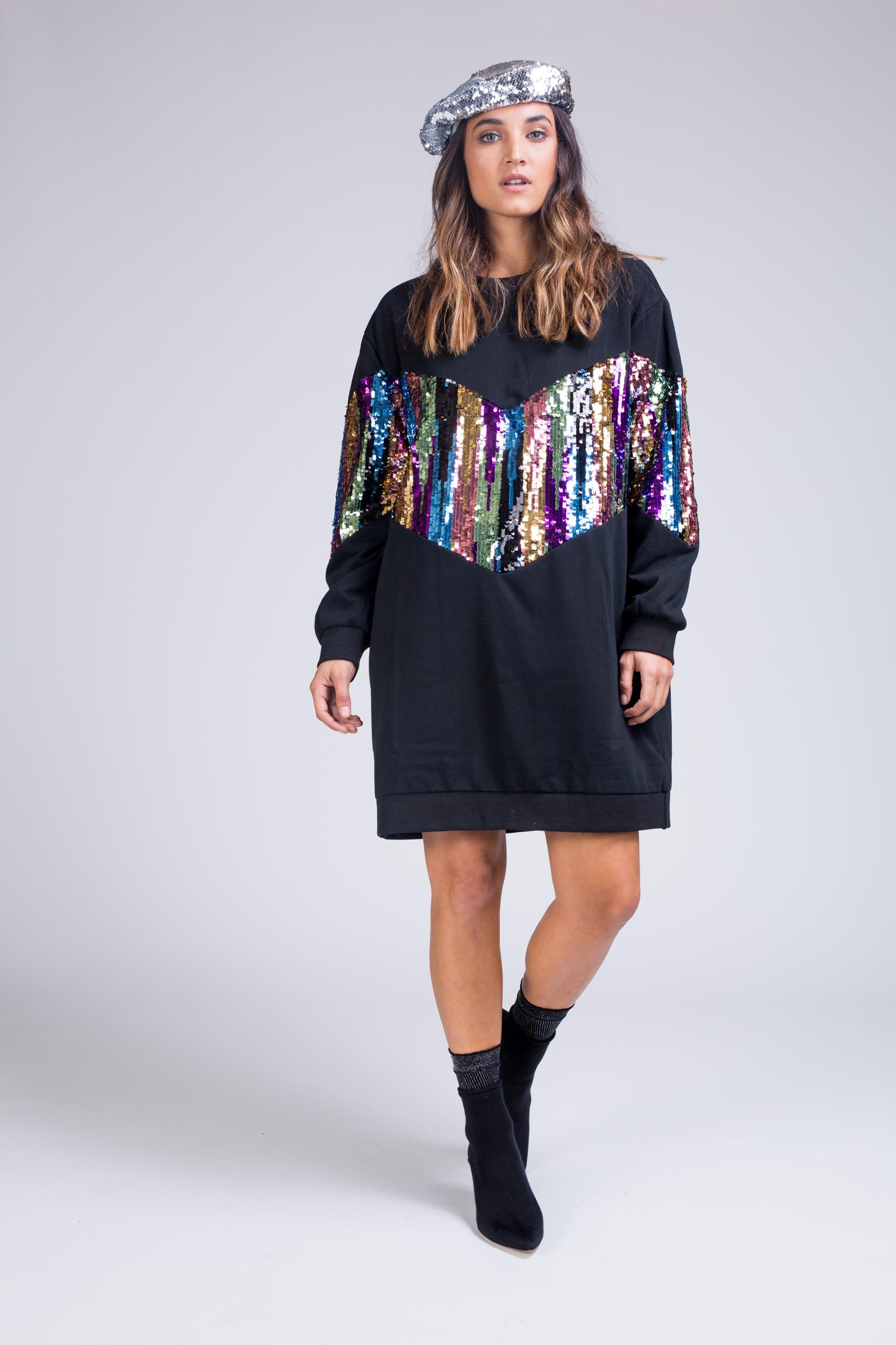 שמלה שילוב פייטים צבעוניים