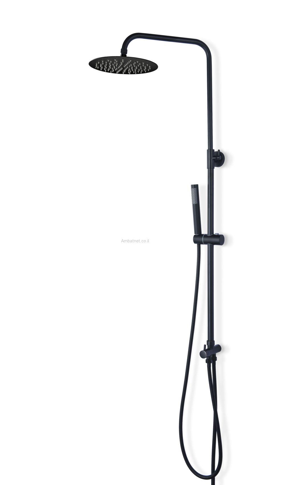 נואבה - מוט פינוק עם ראש גשם עגול - שחור