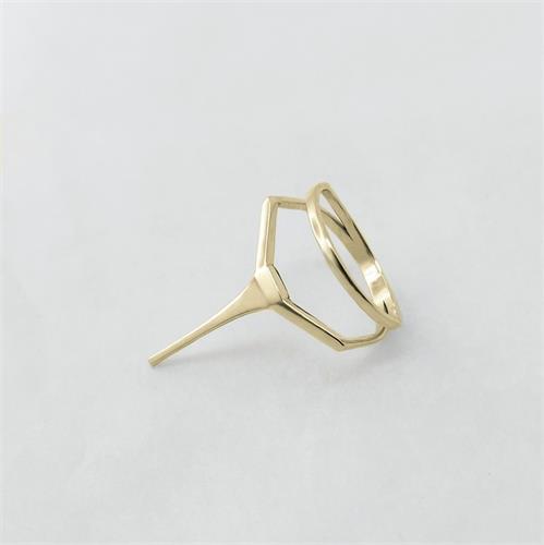 טבעת Double Line זהב 14K