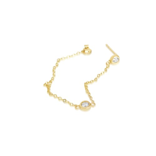 עגיל זהב בודד שרשרת עם זרקונים