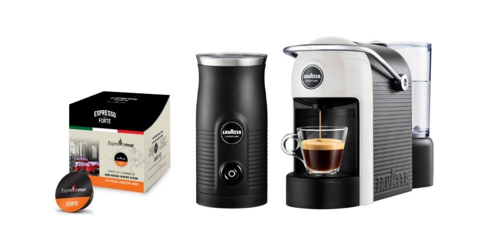 מכונת קפה Lavazza Jolie + מקציף חלב Lavazza ו36 קפסולות במתנה