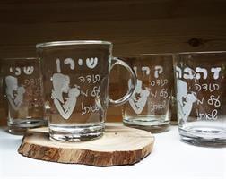 5 ספלים לצוות החינוכי |חריטה מצד אחד של כל כוס