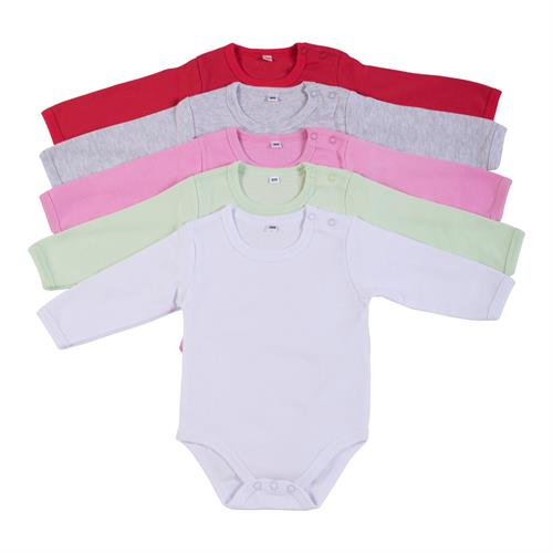 מארז 5 בגדי גוף 9100 אדום - אפור מלאנג' - ורוד - ירוק ליים - לבן