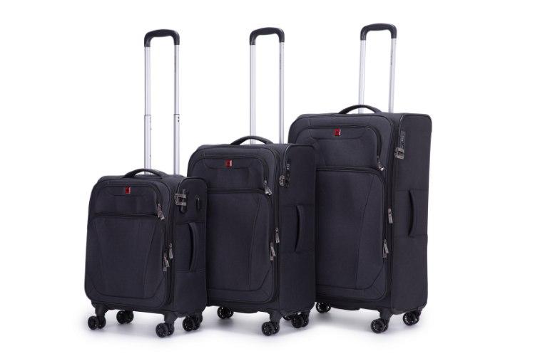 סט 3 מזוודות SWISS ALPINE בד קלות וסופר איכותיות - צבע שחור