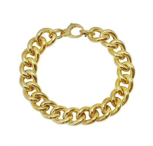 צמיד זהב לאישה חוליות איטלקי עבה מזהב 14 קאראט