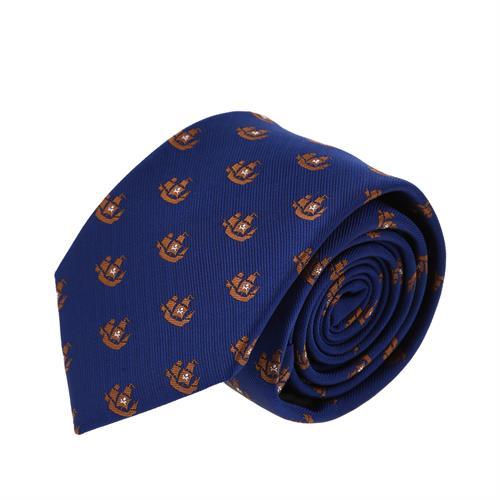 עניבה דגם אוניות כחול חום