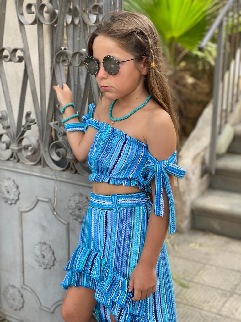 חליפת חצאית שילוב כחול
