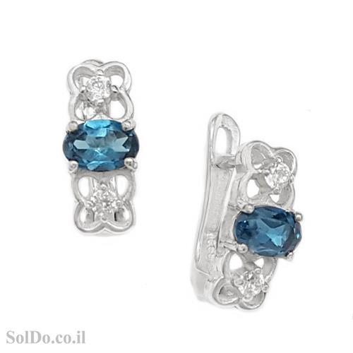 עגילי כסף משובצים אבני טופז כחולות וזרקונים A8730 | תכשיטי כסף 925 | עגילי כסף