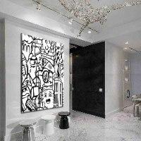 ציור גרפיטי שחור לבן למשרד של האמן כפיר תג'ר