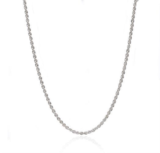 שרשרת זהב לבן חבל|שרשרת זהב חבל לאישה| 14 קראט