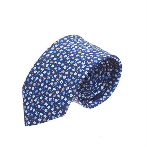 עניבה פרחים קטנים כחול חרדל