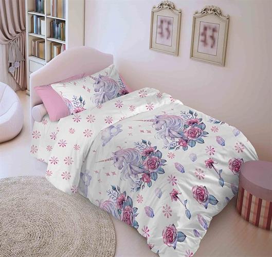 סט מלא יחיד או מיטה וחצי דגם חד קרן 100% כותנה
