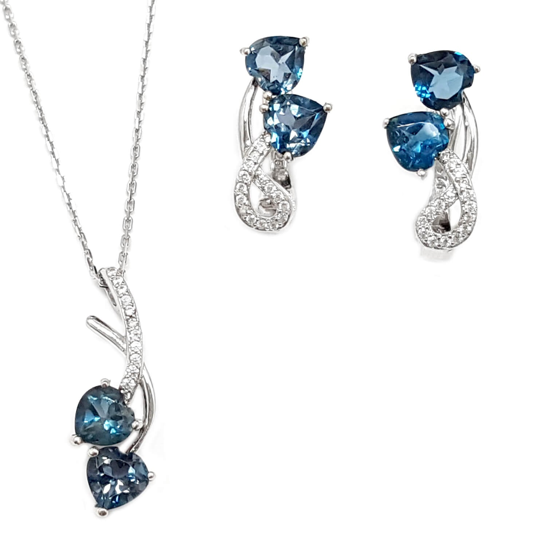 עגילים ותליון מכסף משובצים אבני טופז כחולה וזרקונים S1566