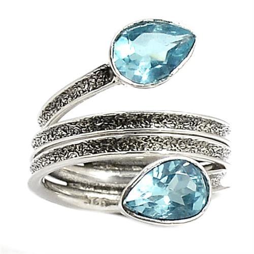 טבעת כסף משובצת טופז כחול RG2013   תכשיטי כסף 925   טבעות כסף
