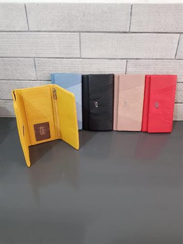 ארנק דמוי עור אדום, כחול, צהוב, שחור 4006