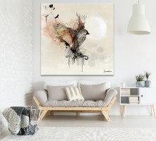 ציור אבסטרקטי של ציפור עפה