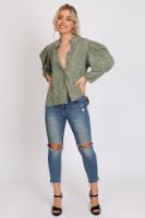 חולצת מישל כפתורים ירוקה