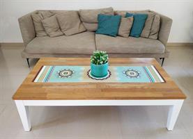 ראנר מעוצב לשולחן - דגם מעגלים תכלת, עשוי פיויסי - דוגמא