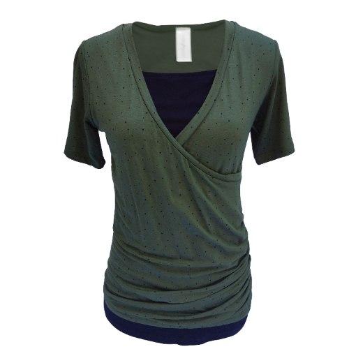 חולצת הריון מעטפת עם שרוול קצר