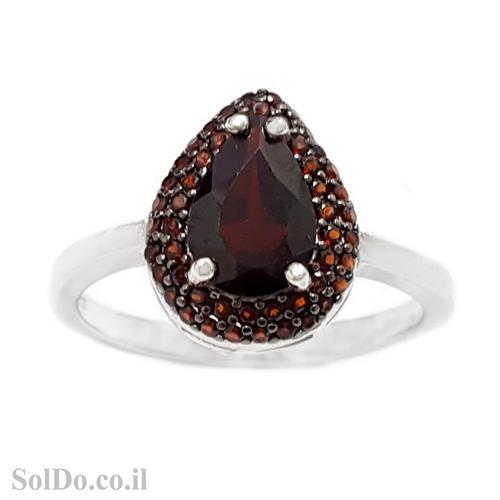 טבעת מכסף משובצת אבני גרנט RG6180 | תכשיטי כסף 925 | טבעות כסף