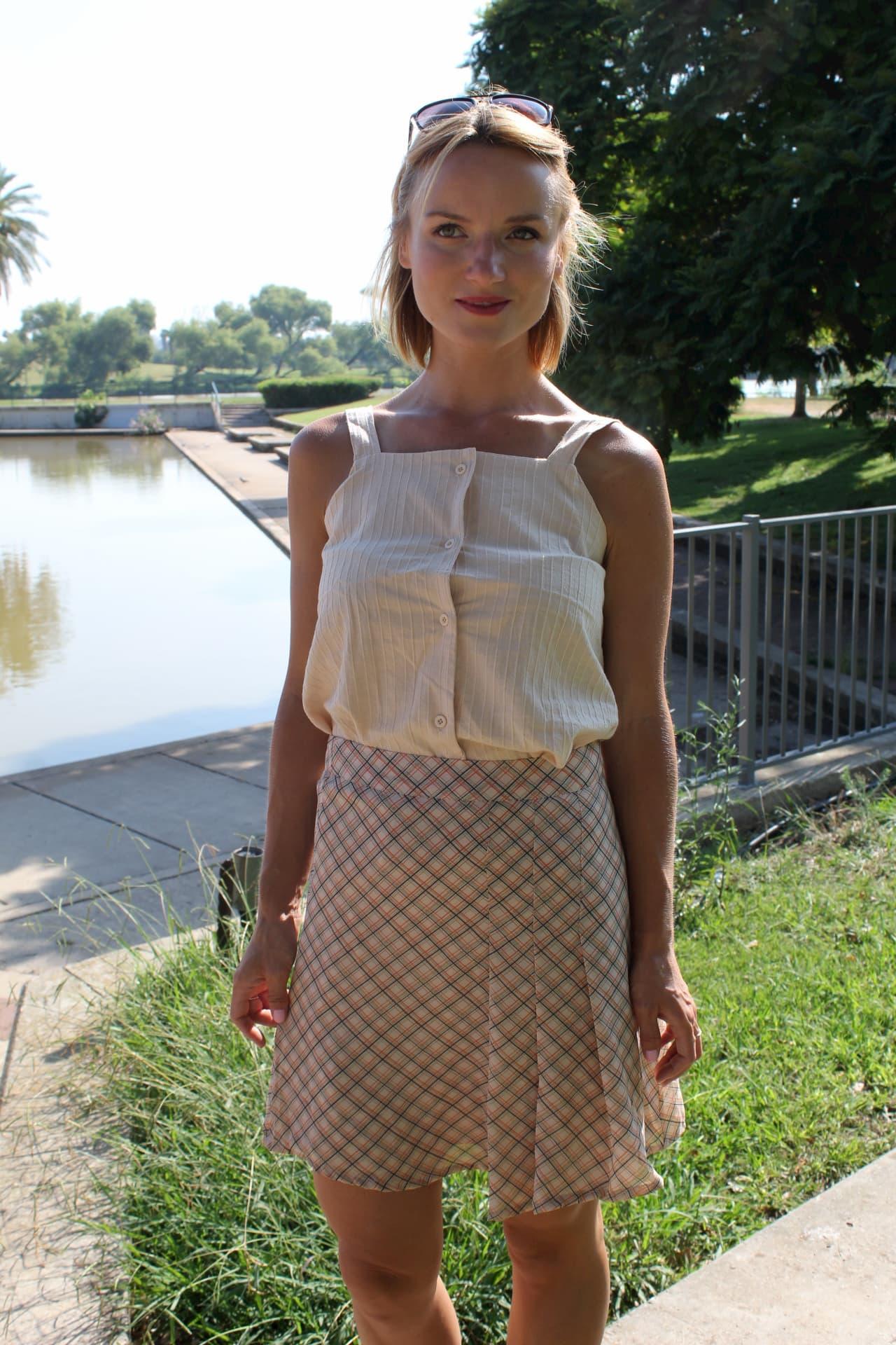 חצאית משבצות קרם