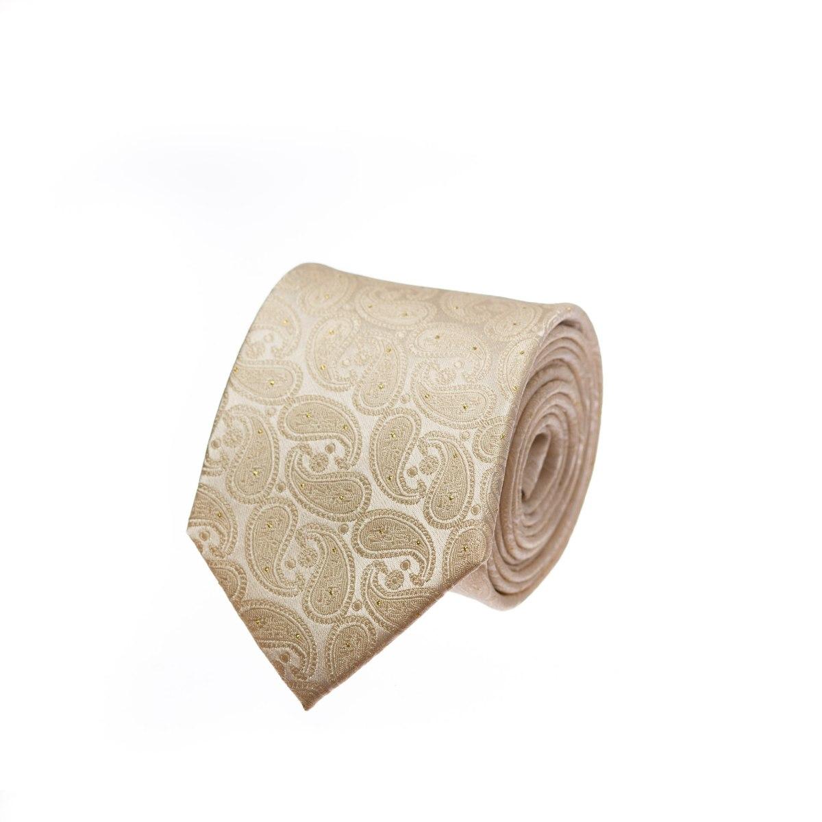 עניבה קרם לורקס זהב דגם פייזלי