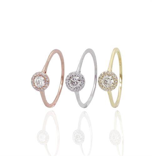 טבעת יהלומים 0.42 קראט בזהב 14 קרט
