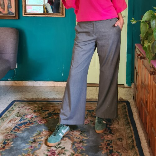 מכנסיים אפורים מתרחבים מידה XL