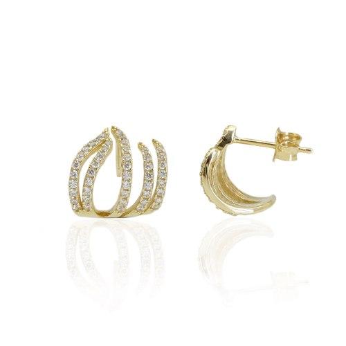 עגילי זהב צמודים וזרקונים