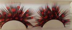ריסים דרמתיות מנוצות שחורות עם נקודות  אדומות
