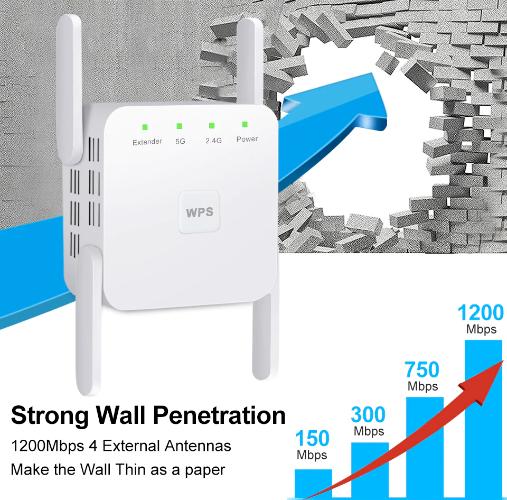 מגבר אות  WiFi  אלחוטי   משחזר Wi Fi Booster -2.4G 5Ghz מגבר ל - Mbps 1200
