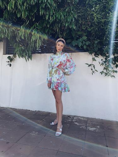 שמלת דידי שיפון - פרינט צבעוני