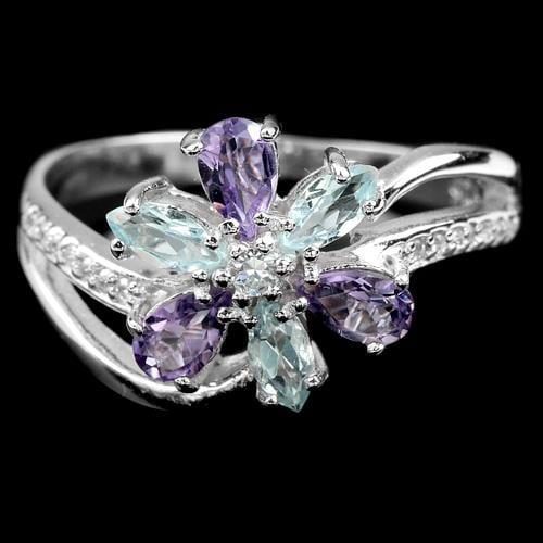 טבעת כסף משובצת אבני טופז כחולות, אמטיסט וזרקונים RG8474 | תכשיטי כסף 925 | טבעות כסף