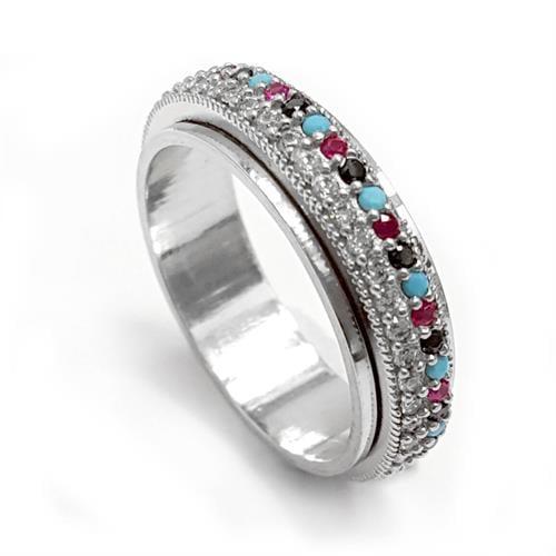 טבעת כסף מסתובבת משובצת אבני זרקון צבעוניות ולבנות RG5541 | תכשיטי כסף | טבעות כסף