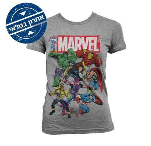 Marvel Team Up גזרת נשים - אפור