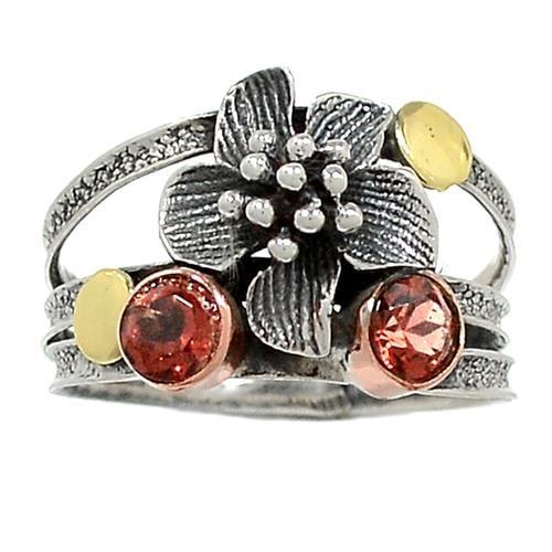 טבעת כסף מעוצבת משובצת אבני גארנט  RG5892 | תכשיטי כסף 925 | טבעות כסף
