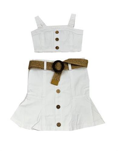 חליפת טופ וחצאית גבוהה לבן
