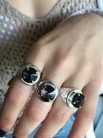 טבעת חותם כסף חותם וינטג' סברובסקי